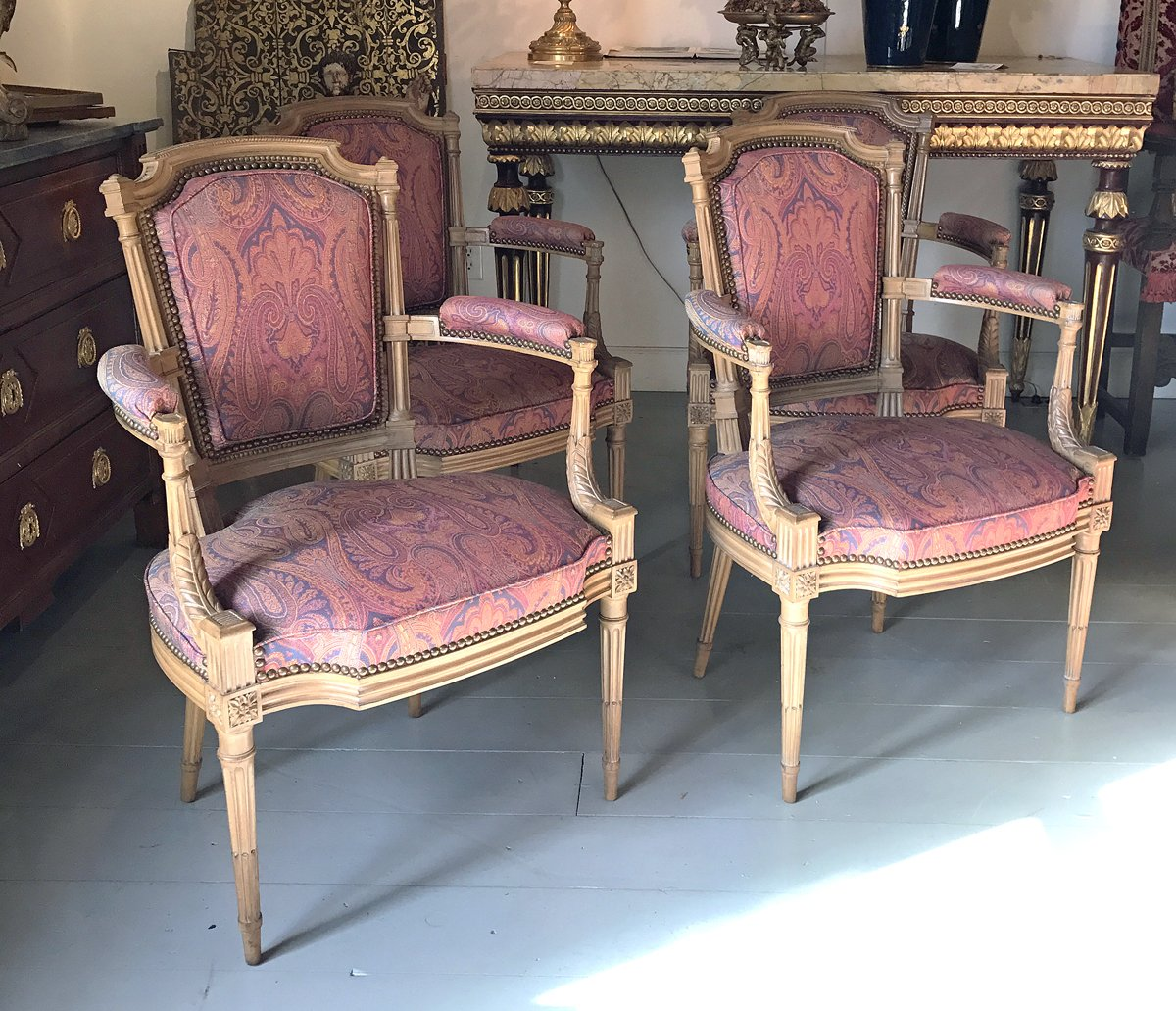 A FINE SET OF FOUR LOUIS XVI STYLE BEECHWOOD ARMCHAIRS IN THE MANNER OF GEORGE JACOB 19th Century