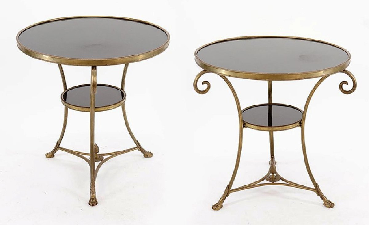 A Pair of Louis XVI Style  Gueridon Granite Top Tables