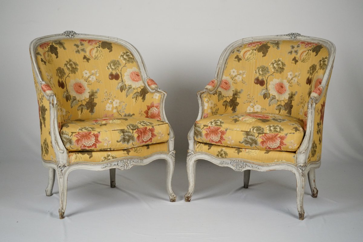 A Pair of Louis XV Style Painted Bergeres
