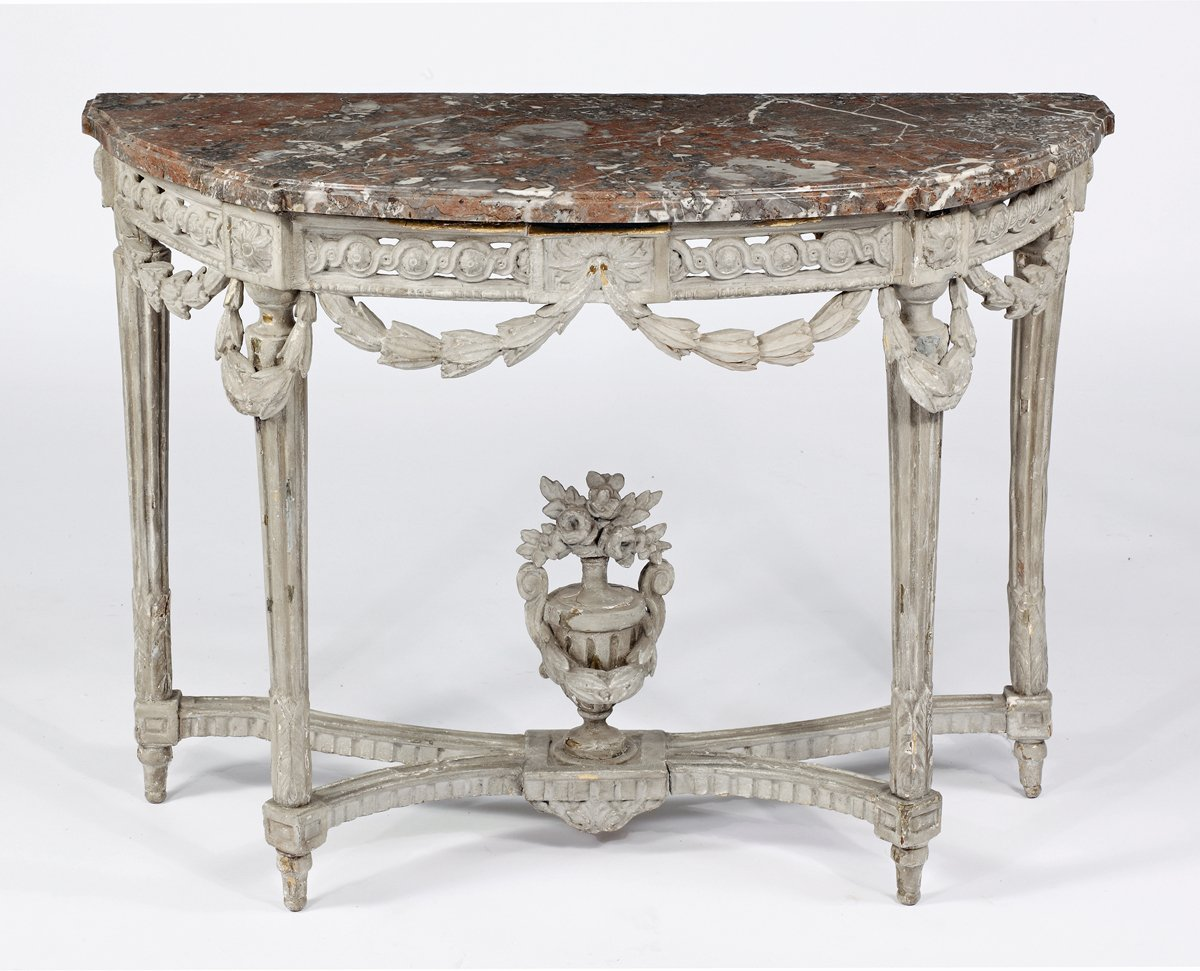 A Louis XVI Grey Painted Console Attributed to George Jacob