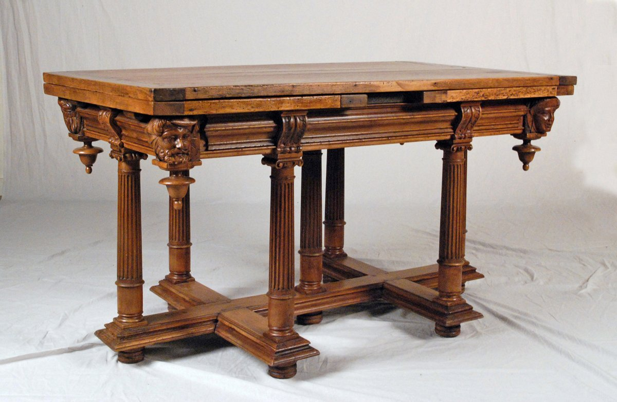 A Fine & Rare Henri II Walnut  Draw Leaf Table