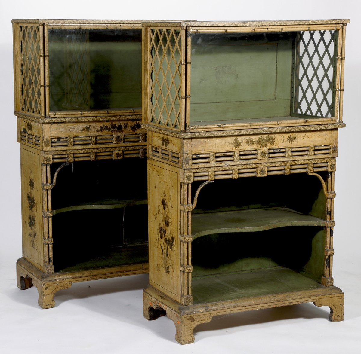 A Pair of Regency Cream, Black and Gilt-Japanned Display Cabinets