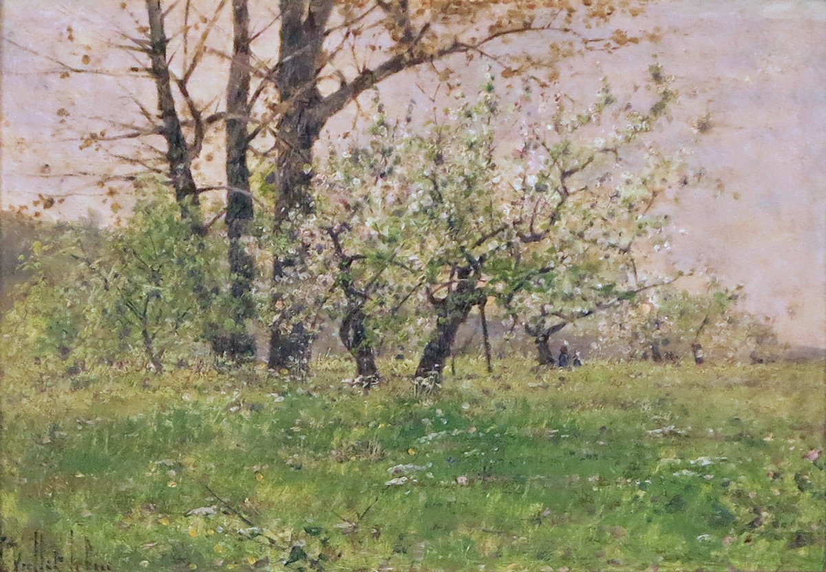 Apple Blossoms Landscape with Figures