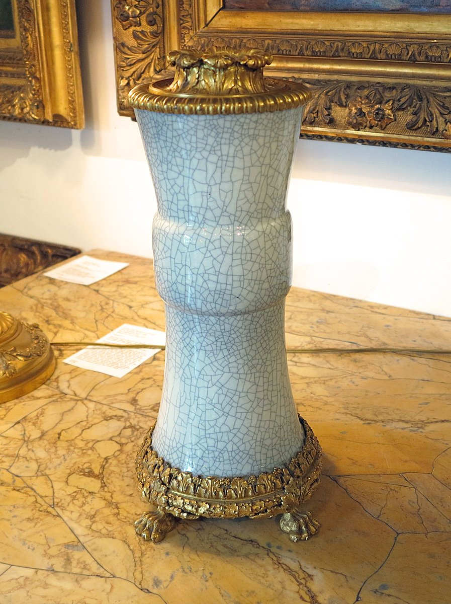 A Fine Gray Crackle Vase Now Mounted as a Lamp With Gilt Bronze Mounts By Caldwell & Co.