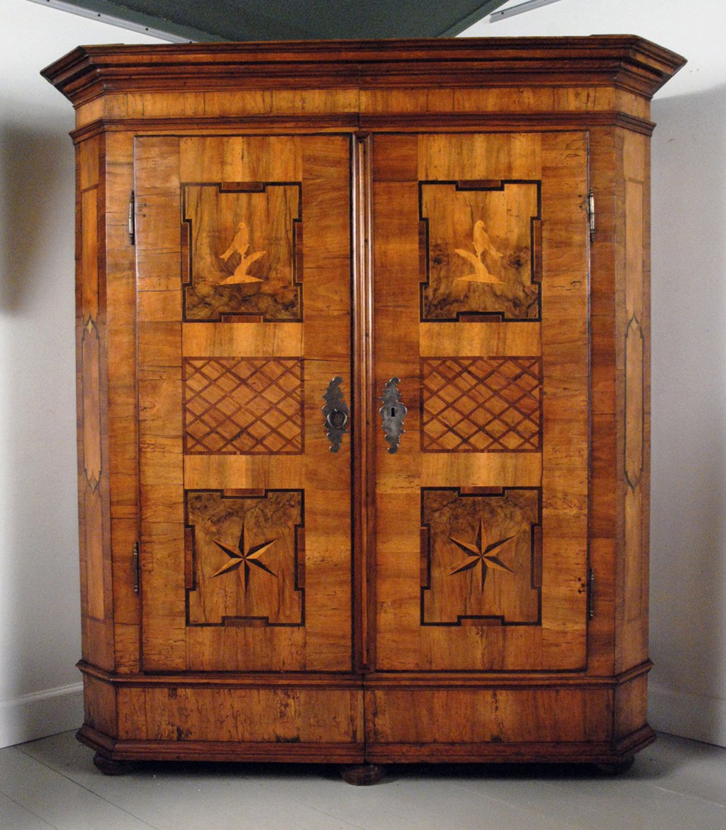 A Fine German Baroque Walnut Parquetry & Marquetry Armoire