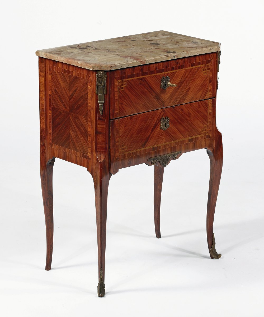 A French Ormolu Mounted Inlaid Kingwood U0026 Marble Top Petit Commode, By Paul  Sormani